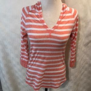 Derek Heart Peach/White Striped Hooded Shirt Sz S